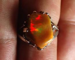 6sz Sterling Ring Very Fiery Metallic Colours Mesmerizing Opal