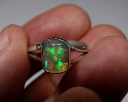Sz 6 Bright Solid Natural Multicoloured Opal .925 Silver Ring
