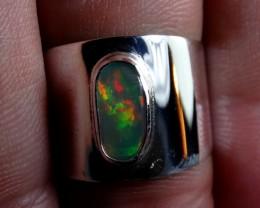 7sz Sterling Ring Very Fiery Metallic Colours Mesmerizing Opal