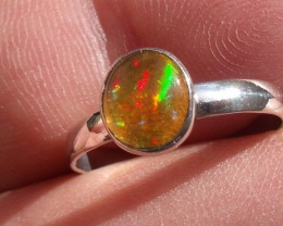 Bezel set Virgin Valley Nevada opal gem silver ring sz 6.25