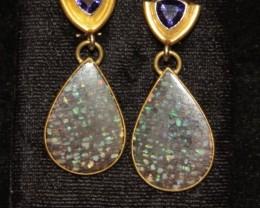 Gold Solid Opal Earrings