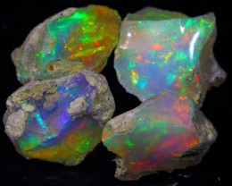 12.30Ct 4Pieces COLORFUL ROLLING FLASH Natural Ethiopia Welo Rough Opal Lot