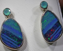 Opal And Paraiba Chalcedony Earrings
