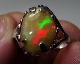 Sz 5.5 Bright Solid Natural Multicoloured Opal .925 Silver Ring
