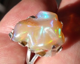 Bezel set Welo Opal gem silver ring sz 6.75