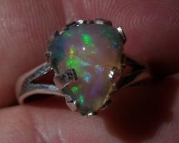 Bezel set Welo Opal gem silver ring sz 7.25