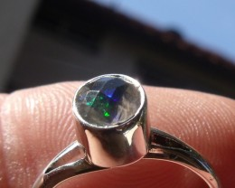 Bezel set Faceted Opal  gem silver ring sz 6.0