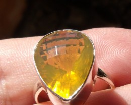 Bezel set Faceted Opal gem silver ring sz 7.0