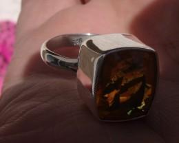 Bezel set Faceted Opal gem silver ring sz 7.25