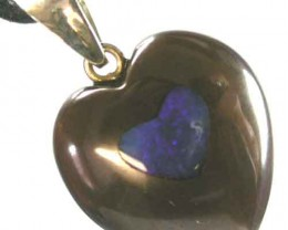 15 CTS HEART SHAPE BOULDER OPAL PENDANT WITH INLAY{ BMH-14 }