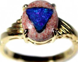 NEW UNIQUE OPAL GOLD PLATED SILVER RING SIZE7 L1661