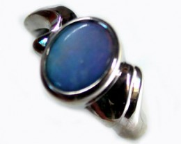 BLUE HUES BLACK OPAL SOLID SILVER RING SIZE9.5  L1636