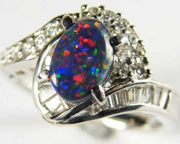 BLACK OPAL RING PLATINUM  RING, 16 DIAMONDS SCO 1236