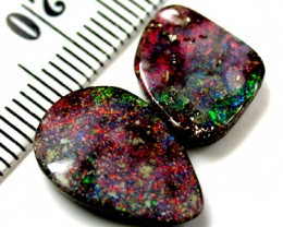 SHIMMERING RED AND GREEN FIRE BOULDER OPAL 9.5 CARATS QO645
