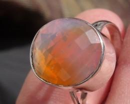 Bezel set Faceted Opal gem silver ring sz 7.5
