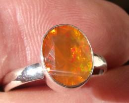 Bezel set Faceted Opal gem silver ring sz 6.5