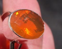 Bezel set Faceted Opal gem silver ring sz 7.75