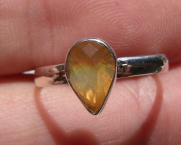 Bezel set Faceted Opal gem silver ring sz 6.75