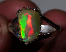 Sz 6.5 Bright Solid Natural Multicoloured Opal .925 Silver Ring
