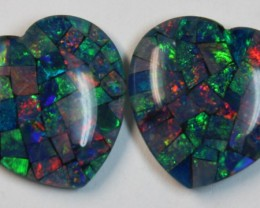 28.70 cts AAA + MOSAIC PAIR TOP CRYSTAL OPAL USE TO MAKE THESE MOSAICS