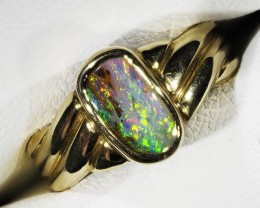 SOLID  BOULDER OPAL SET IN 18 KGOLD RING size6 L1783
