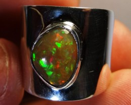 Sz 8 Bright Solid Natural Multicoloured  Opal .925 Silver Ring