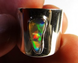 Sz 7.5 Bright Solid Natural Multicoloured  Opal .925 Silver Ring