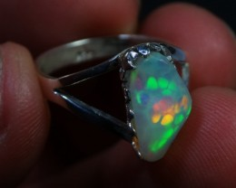 Sz 7 Bright Solid Natural Multicoloured Honeycomb Opal .925 Silver Ring