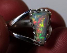 Sz 7 Bright Solid Natural Multicoloured Opal .925 Silver Ring