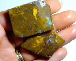154cts Australian Boulder Opal Rough 2pcs C87