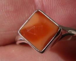 Bezel set Faceted Opal gem silver ring sz 7.0