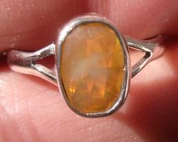 Bezel set Faceted Opal gem silver ring sz 6.75