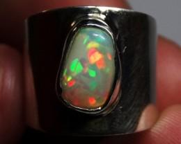 7.5sz Sterling Ring Very Fiery Metallic Colours Mesmerizing Opal