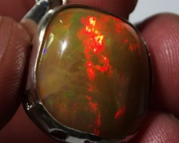 Natural Ethiopian Welo Opal 925 Sterling Silver Pendant Mexican Taxco Jewel