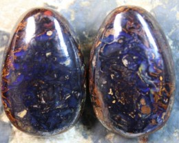 68.40 CTS YOWAH OPAL PAIRS POLISH STONES FOR EARRINGS HIGH DOME C7844