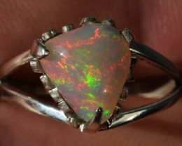 8sz Sterling Ring Very Fiery Metallic Colours Mesmerizing Opal