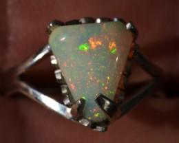 8sz Sterling Ring Very Fiery Metallic Colours Mesmerizing Opal