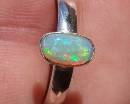 Bezel set Virgin Valley Nevada opal gem silver ring sz 7.5
