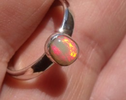 Bezel set Virgin Valley Nevada opal gem silver ring sz 7.0