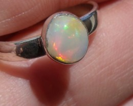 Bezel set Virgin Valley Nevada opal gem silver ring sz 6.0