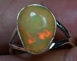 7.5sz Sterling Ring Very Fiery Metallic Colours Mesmerizing Opal