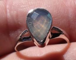 Bezel set Faceted crystal Opal gem silver ring sz 7.25