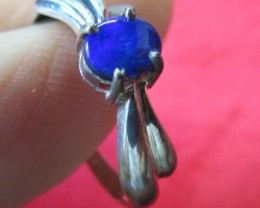 Cute Blue Fire Doublet opal ring Size  7  AGR 746