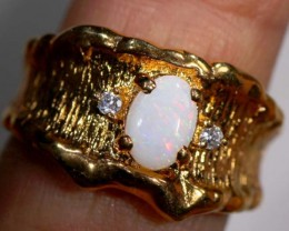 ETHIOPIAN OPAL RING STERLING SILVER  WITH GOLD PLATED  23.95 CTS    OF-907
