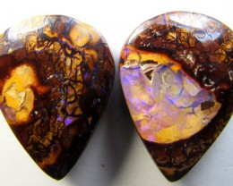 21cts Quality Australian Boulder Opal Cut Pair C142