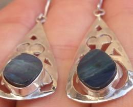 Doublet opal gem & silver fashion earrings jewelry