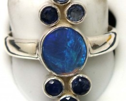 BLACK OPAL AND AUSTRALIAN SAPPHIRE RING -[SOJ4807-2 ]