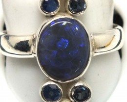 BLACK OPAL AND AUSTRALIAN SAPPHIRE RING -[SOJ4809]