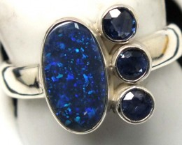 BLACK  OPAL AND AUSTRALIAN SAPPHIRE RING -[SOJ4810]