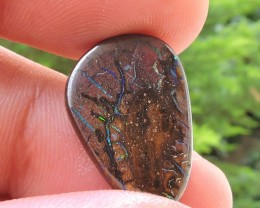 11.50ct KOROIT BOULDER OPAL FREEFORM POLISHED CAB GREEN BLUE FIRE